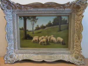 Antique Signed ROBERT LINDNER oil painting grazing sheep in pasture FRAMED $600.00