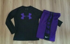 Lot boys UNDER ARMOUR Printed long sleeve shirt NIKE Elite Shorts Purple Set S $21.99