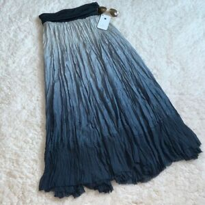 Donna Karan Silk Pleated Ombre Maxi Skirt Blue Size Small $159.99
