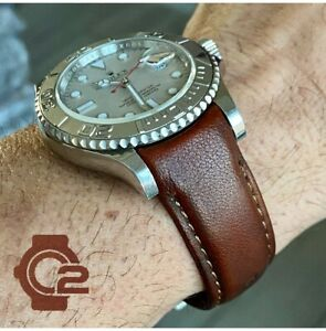 20mm Scorched BROWN Calfskin leather curved fitted Band Strap Rolex Sub Case $69.99