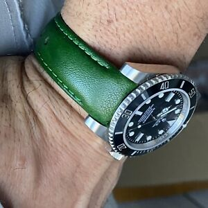 20mm GREEN Calfskin leather curved fitted Band Strap Rolex Sub Case $69.99