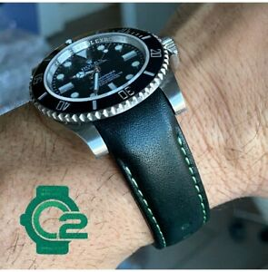 20mm DARK GREEN Calfskin leather curved fitted Band Strap Rolex Sub Case $69.99