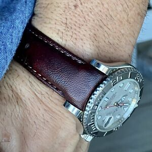 20mm dark CORDOVAN Calfskin leather curved fitted Band Strap Rolex Sub Case $69.99