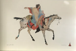 """Carol Grigg Signed Lithograph Native American Print """"Wearing The Robes"""" 36""""X24"""" $40.00"""
