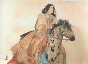"""Carol Grigg Signed Lithograph Native American Print """"Brave Horse"""" 36"""" X 24"""" $40.00"""