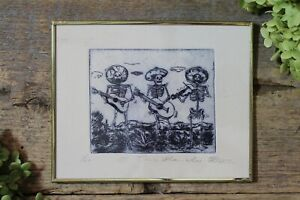 Day of the Dead Mariachi Skeletons Framed Etching by Abelar Mexican Folk Art $36.00