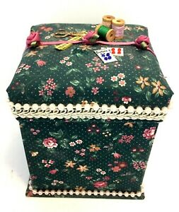 Fabric Sewing Organizer Storage Travel Sewing Kit Collapsible Box w Accessories $12.99