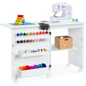 White Sewing Table Multipurpose Craft Work Station Foldable amp; Side Table Wheels $199.99