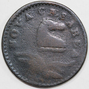 1786 M.18 M New Jersey Colonial Copper Coin $110.00