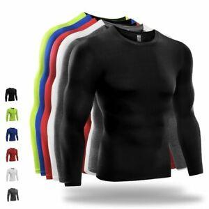 Men Long Sleeve Sports Quick Dry Gym Compression Under Base Layer Shirts Tops US $9.59
