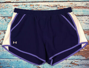 Womens UNDER ARMOUR Shorts Large Running Blue White And Purple $16.99