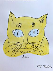 Andy Warhol Hand Signed Drawing Cat Watercolors Ink After HaringBasquiatPop $69.99