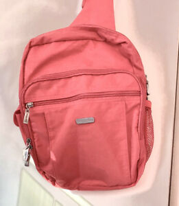 Baggallini Messenger Sling Nylon Pink Backpack Purse Bag Pockets $28.00