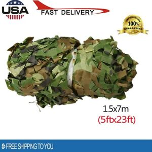 1.5x7m 5x23ft Woodland Camouflage Camo Net Hide Military Netting Hunting Cover