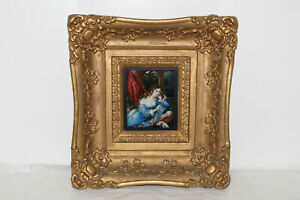 VINTAGE PAINTING IN GOLD GESSO FRAME VICTORIAN WOMAN ELEANOR PHILLIPS $94.99