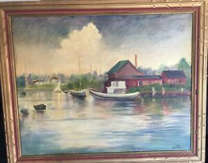 1966 Erika Kaiser Oil Painting On Wood Signed Seaside Town Boats Milford Ct. $145.00