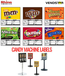 6 CANDY VENDING MACHINE STICKERS LABELS NUTRITION INFO Mamp;Ms Skittles $5.99