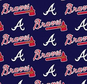 MLB ATLANTA BRAVES LOGO PRINT Cotton Fabric by the 1 41 2Yard 58quot;W