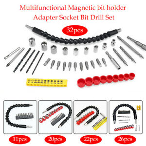 Right Angle Drill Bit Plastic amp; Metal Hex Shank Socket Flexible Extension Set $6.88