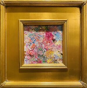 KADLIC Abstract Impasto Original Oil Painting Gold Gilt Frame 12x12quot; Fine Art $119.00