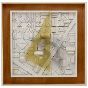 Mid Century composition carved wood and protractor triangles Andre Pailler 1970 $1150.00