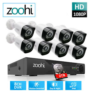 Home 8CH DVR 1080P HD Security Camera System Outdoor CCTV 2TB AHD Wired HDMI Kit