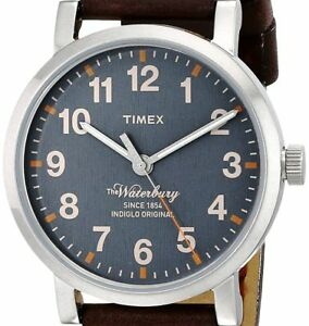 NEW $103 TIMEX Mens Waterbury INDIGLO Leather Strap Classic Watch TW2P58700