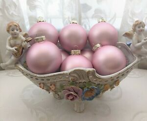 Shabby Chic Victorian Rose Blush Pink Glass Christmas Tree Ornaments Set of 8 $25.99