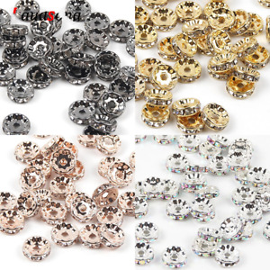 50pcs Gold Crystal Spacer Beads Jewelry Findings Making DIY Bracelet Necklace $6.49