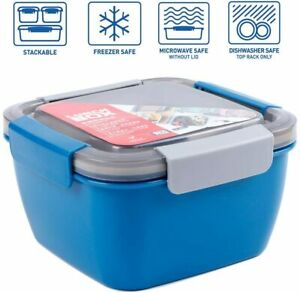 Salad Container Lunch Bento Box Microwave Built in Reusable Spoon 3 Compartments