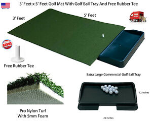 36quot; x 60quot; Pro Residential Practice Golf Turf Synthetic Grass Mat With Ball Tray $99.99