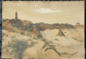 Quality Lighthouse painting 1920 .Signed. $39.98