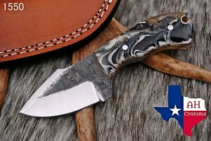HAND FORGED RAILROAD SPIKE CARBON STEEL KNIFE RISEN HANDLE AH DAMASCUS 1550 $19.99