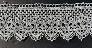 """3 Yds Venise White Wide Scalloped Edge Lace Trim 2 1 4"""" DIY Sewing Crafts $10.99"""