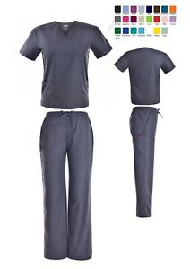 Unisex Scrub Sets Solid V Neck Top Cargo Pant Men Women Medical Nursing Uniform