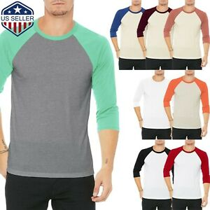 Mens Baseball RAGLAN T Shirts 3 4 Sleeve Tee Team Sport Jersey Solid Casual $6.98
