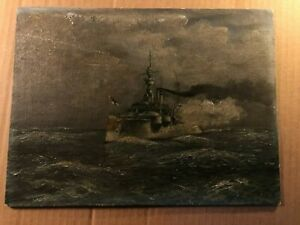 Rare Wonderful Antique Painting of a Warship $324.99