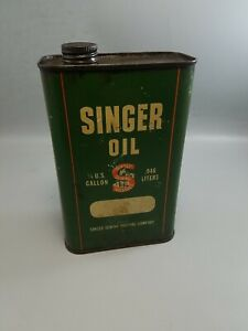 VINTAGE SINGER OIL 1 4 U.S. GALLON .946 LITER SEWING MACHINE OIL CAN TIN EMPTY $41.99