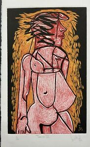 LUIS MIGUEL VALDES n154 Cuban Art Hand Signed Original Limited Edition Woodcut $150.00