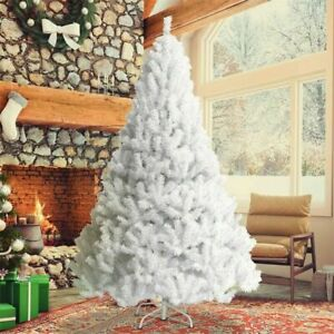 Christmas Tree 6ft Metal Stand Xmas Bushy 1400 Branches White Xmas Home Decor $35.99