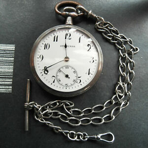 Pocket Watch STUPENDA and Chains Funkcional Working Silver Antique Diameter 475 $99.00