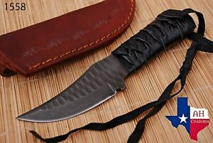 HAND FORGED RAILROAD SPIKE CARBON STEEL KNIFE LEATHER HANDLE AH DAMASCUS1558 $24.99