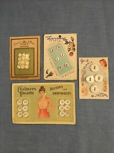 Carved Mother Of Pearl Button Cards. Vintage Antique With Great Graphics $16.00