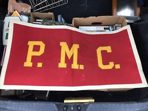 Large Vintage Pennsylvania Military College 100% Wool Banner Pennant 1960s $54.99