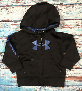 Baby UNDER ARMOUR Full Zip Hoodie Size 18 Months Black And Blue $15.99