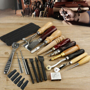 USA Leather Craft Tools Punch Kit Stitching Carving Sewing Working Skiving Knife $36.49