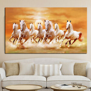 Seven White Horse Canvas Picture Print Poster Wall Modern Art Home Decor $11.05
