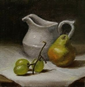 Original Oil Realism Small Painting Still Life 6quot;x6quot; by NATALIA CLARKE Pears $38.90