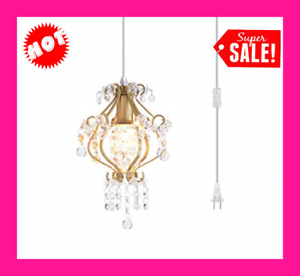 1 Light Elegant Mini Chandelier Plug in Crystal Pendant LightGolden $51.61
