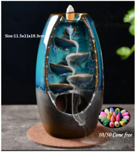 New Ceramic Backflow Incense Cone Burner Holder Glaze Waterfall amp; Cones Gift